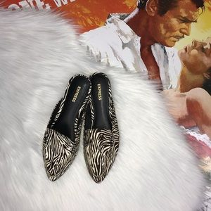 Express Zebra Calf Leather Print Slide Loafers